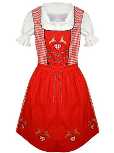 Di17 Midi Dirndl, 3 teiliges Trachtenkleid in rot weiß kariert, Kleid mit Bluse und Schürze, Gr. 42 (Rot Weiß Karierte Kleid)