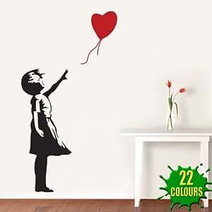 Banksy Heart Balloon Girl–Sticker mural Salon Chambre (Petit)