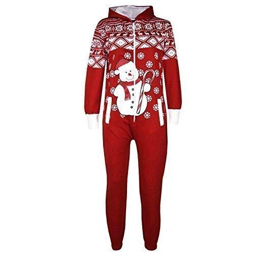 Elf Kostüm High - A2Z 4 Kids Kinder Mädchen Jungen Neuheit Weihnachts Schneemann Aufdruck Fleece Onesie Overall Kostüm 5-13 Jahren - Rot, 11-12 Years