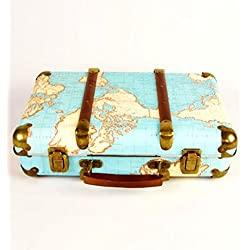 Around The World Vintage Map Hard Suitcase Storage Decoration Wedding Keepsake