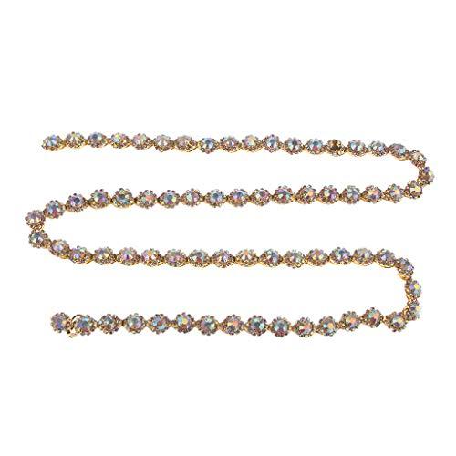 chiwanji 1 Yard Crystal Gold AB Strass Nähen Trim Chain Ribbon Hochzeit Bridal Home Decoration -