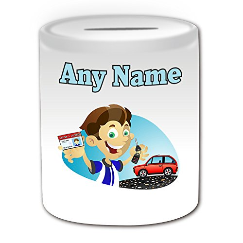 Personalised Gift - Driving License Boy Money Box (Occasion Design Theme, White) - Any Name / Message on Your Unique - Lesson Congratulations Car Keys Pass Test School L P Plate Learner (Law School In A Box)