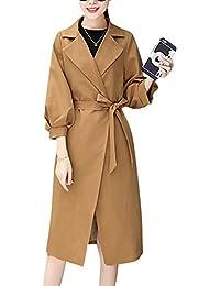 Abrigo Chaquetón Para Mujer Cinturón Larga Trench Coat La Solapa Rompevientos Delgado Femenino