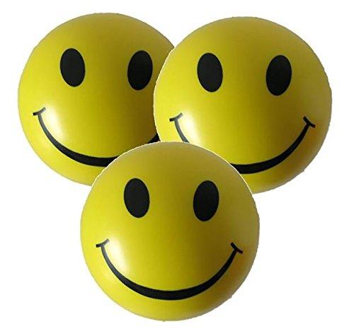 Stressball 3 x Gelbe – Smiley Stress Ball - Antistressball ,Stressballs, Knautschball – Kleiner Ball, Grosse Stresserleichterung
