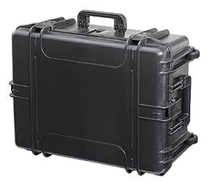 max620h250str–étanche et de Valise avec mousse Démêler imperméable à la poussière dans le sol et mousse à picots dans le couvercle (620mm x 460mm x 250mm) (Noir) (avec roulettes et poignée gigogne)