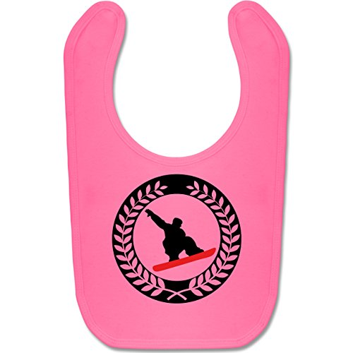 Sport Baby - Snowboard Sichel Kranz - Unisize - Pink - BZ12 - Baby Lätzchen Baumwolle - Kontur-bund