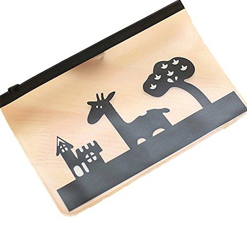 jingyuu Mignon Peeling transparent künstlerischen Tier Wasserdicht Gelee Federmäppchen Fall PP Familie Aufbewahrungstasche für die Studenten (Giraffe) (Tier-peelings Für Frauen)