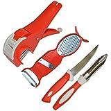 [Sponsored]Vittamix Kitchen Tools Combo Vegetable Cutter+3 In 1 Peeler + 1 Knife + 1 Peeler (Set Of 4, Multi Clour)