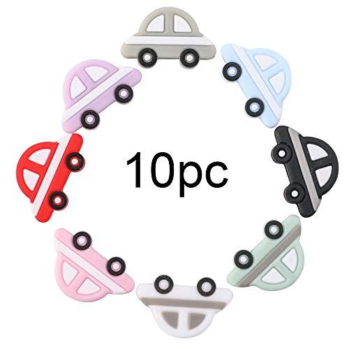 let's make Silikonperlen in Lebensmittelqualität BPA frei Mini Auto Lose Perlen 10 Stück DIY Pflegezubehör für Sensorische Beißring Baby Greiflinge