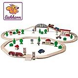 Eichhorn 100001265 - Eichhorn Bahn - Schienenbahn Bahnset mit Brücke, 80 teilig, FSC Zertifiziertes Buchenholz, Streckenlänge: 440 cm
