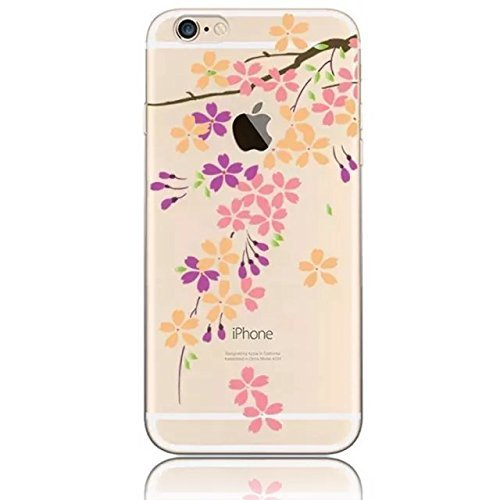 "Coque iPhone 7 4.7"" Ultra-Mince Silicone TPU Gel Transparent Souple Etui Housse Sunroyal® Apple iPhone 7 (4.7 Pouces) Case de Protection Spécial Back Cover Anti-Choc Bumper - Fleur Violet Pattern 17"