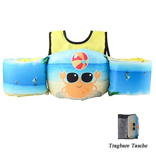 HOFOUND Schwimmflügel Schwimmwesten mit Schultergurt für Kleinkinder von 2-7 Jahre 15-30kg Schwimmweste Kinder Schwimmen zu Lernen für Jungen (Krabbe)