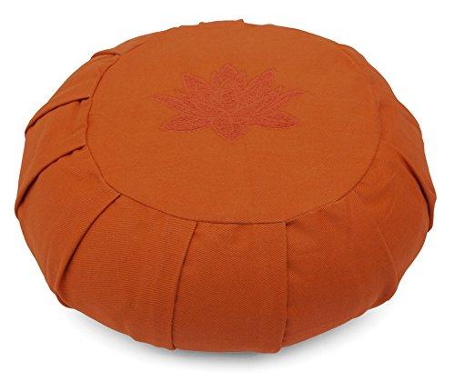 Yoga Studio Zafu rond plissé Sarrasin Coussin de méditation–Feuille de lotus Terre cuite 36x17 cm