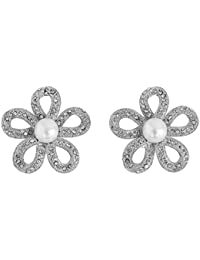 Touchstone Rhodium Plated Floral Earrings For Women