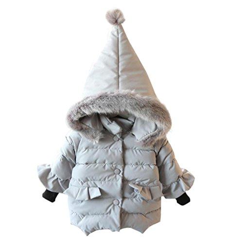 Baby Jacke für Mädchen, cinnamou Kleinkind Herbst Winter Kapuzenmantel - dicke warme Kleidung (3T, Grau)