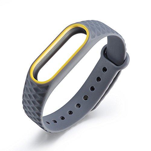 UNMIZ Ersatzband Replacement Silicone Watch Bracelet Band Wrist Strap for Xiaomi Mi Band 2 Verschleißfeste,wasserdichte,Atmungsaktive(Gray) (30mm Weiß Band Watch)