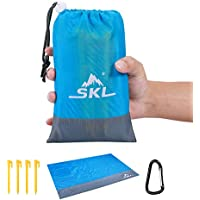 SKL Picnic Blanket Beach Blanket Pocket Picnic Mat for Outdoor Travel Camping Hiking Activities (Blue)
