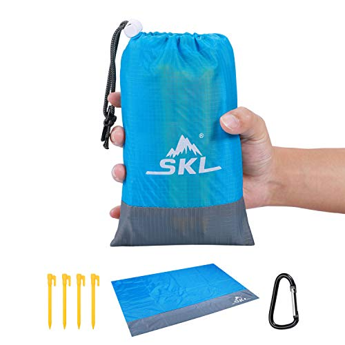 SKL Stranddecke Picknickdecke Outdoor Wandern Campingdecke Picknick Matte sandfrei wasserdicht mit Tragbar Tasche leicht kompakt für Outdoor Reisen Camping Wandern (Blau, 210x200)