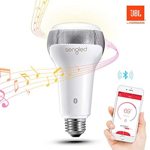 Sengled Solo Bluetooth Lautsprecher E27 Smarte LED Lampe, dimmbar, zum kabellosen Abspielen von Musik, warmweiß 2700K, BR30, ersetzt 60W, kompatibel mit Amazon Alexa, 1 Stück