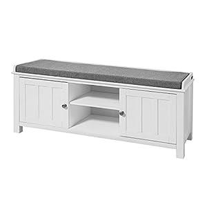 SoBuy FSR35-W Sitzbank Bettbank Schuhschrank Garderobenbank mit Sitzkissen MDF weiß BHT ca: 105x43x35cm
