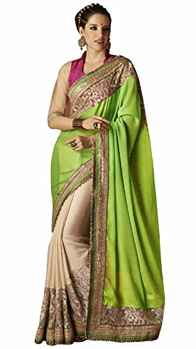 Indian Beauty Women's Faux Georgette Saree (Bahubali-G_Green-Cream)