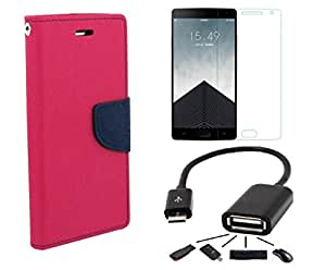 Premium Flip Cover Combo For Xiaomi Redmi Note 4G- (Pink Flip l Tempered l OTG)