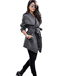 Romacci Chaqueta de Invierno para Mujer Abrigo Sólido de Solapa Grande Bolsillos de Manga Larga Ropa