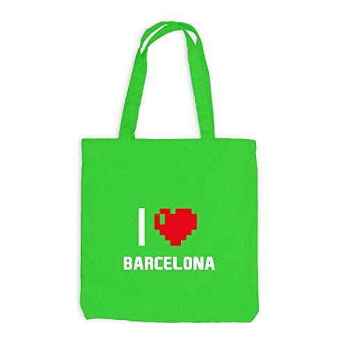 Jutebeutel Love Herz Hellgrün Spanien I Barcelona Pixel Heart Reisen r1qwrvg