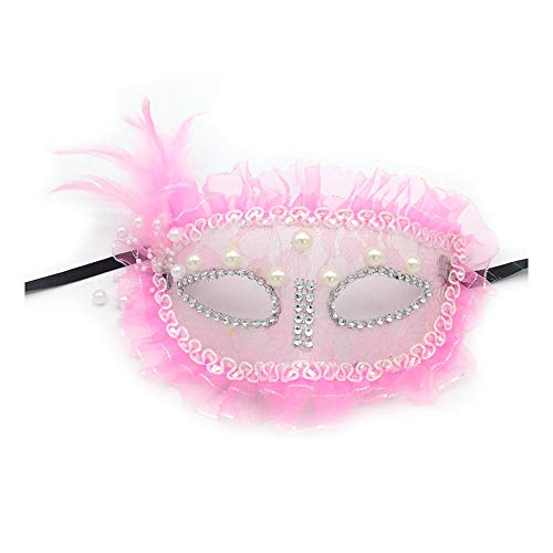 SCLMJ Halloween Maske Masque New Lace Perle Feder Trim Halbe Gesichtsmaske Für Damen Party Kleid, Rosa