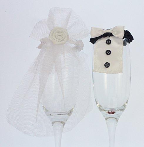Champagnerflöte tuxedo und Schleier Hochzeit Braut und Bräutigam Dekoration-tux-Funktion (16 Tuxedo)