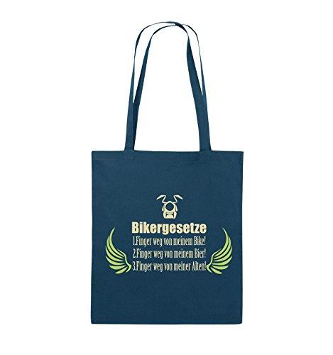 Comedy Bags - BIKERGESETZE - FLÜGEL - Jutebeutel - lange Henkel - 38x42cm - Farbe: Navy / Beige-Hellgrün Navy / Beige-Hellgrün