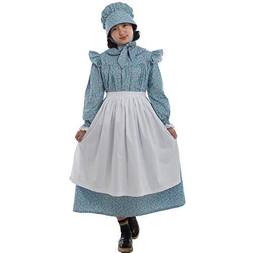 GRACEART Mädchen Viktorianisch Pioneer Kolonial Kostüm Prairie Kleid 100% Baumwolle (Blau, US-7) (Kolonial Kostüm Zubehör)