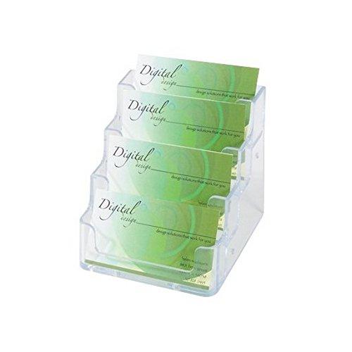 Deflecto - Portabiglietti da visita da tavolo Deflecto - 4 scomparti - trasparente - 70841 - codice 70841