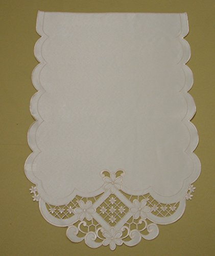 Pack of 4 Plain Cream Beige Embroidered Floral CutworkScalloped Edge Chair Back Covers FREE UK POSTAGE 005