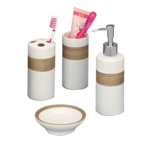 Zeller 18260 - Juego de accesorios de baño, fabricado en cerámica (4 piezas), color beige y marrón