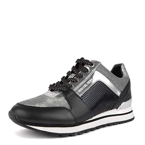 Michael Kors Billie Trainer Metallic Mesh 43R9BIFS1D Black Silver Damen Schuhe Michael Kors Metallic-heels