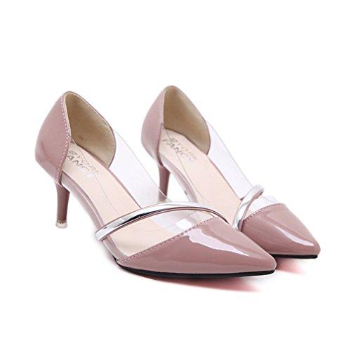 Damen Pumps Lackleder Transparent Spitz Zehen High-Heels Slip on OL Einfach Elegant Leicht Bequem Büro Freizeit Stiletto Pink