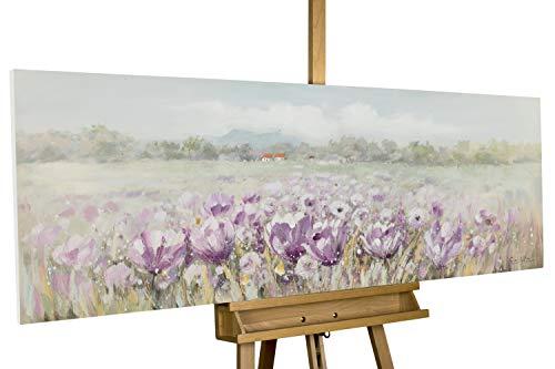 KunstLoft® Acryl Gemälde 'Blühender Sommer' 150x50cm | original handgemalte Leinwand Bilder XXL | Blumen Wiese Grün Lila | Wandbild Acrylbild Moderne Kunst einteilig mit Rahmen -