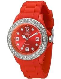 Rote Damen Madison New York Armbanduhr veredelt mit SWAROVSKI ELEMENTS