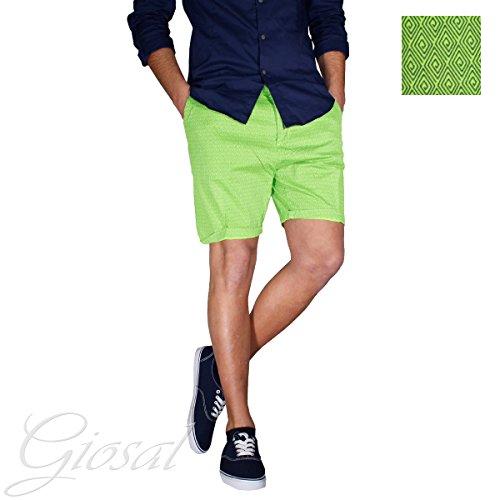 Pantalone Corto Uomo Bermuda Tasca America Fantasia Rombi GIOSAL Verde