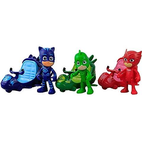 Best 3 Pcs/Set PJ Masks Cute MOTORCYCLE Toy Figures For Kids - Beste 3 Stück / Set PJ Masks Nette Motorrad Spielzeug Figuren Für (Kind Cat Girl Kostüm)