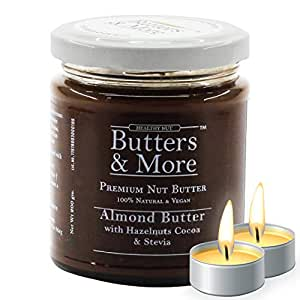 Butters & More Vegan Almond Butter with Hazelnuts, Dark Cocoa & Stevia (200G). Keto & Diabetic Friendly. with a Surprise Diwali Gift!