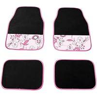 Carpoint 0318161 Pink Flower - Funda para asiento, color negro y rosa