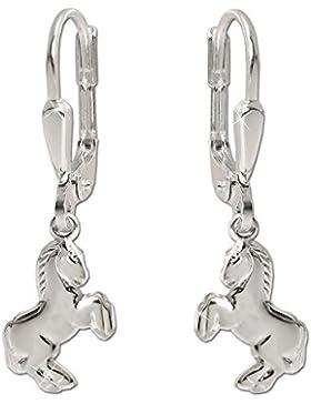 CLEVER SCHMUCK Silberne Ohrhänger 24 mm lang mit kleinem Pferd 9 mm springend glänzend STERLING SILBER 925