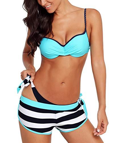 Aleumdr Bikini Set Damen Push up Bademode Badeanzug mit Bügel Triangel zweiteilig Gebunden Strandmode Bikinioberteil S-XL, Blau, Large (EU38-EU40)