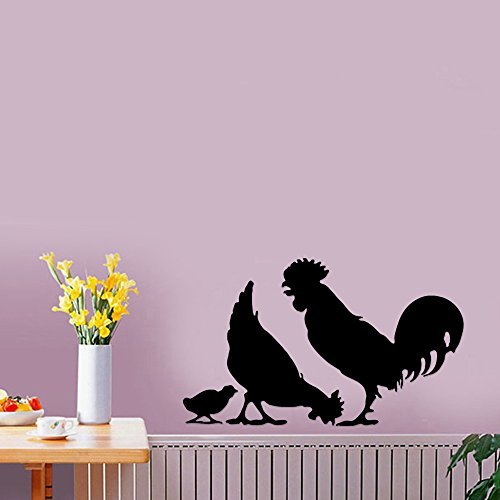 Chicken Rooster Chicks Farm Animal Removable Wall Sticker Art Home Office Room Mural Decor Vehicle Car Truck Window Bumper Graphic Decal- (6 inch) / (15 cm) Wide MATTE BLACK Color by StickerLove -