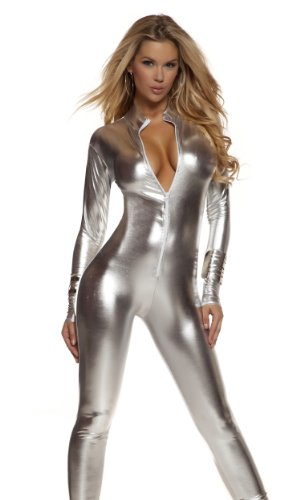 Forplay Solid Silver Womens Mock Neck Jumpsuit Fancy Dress Costume X-Small/Small