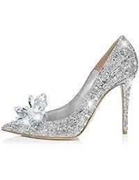 ZHIRONG Tacchi alti d argento delle donne bocca superficiale fine con scarpe  da sposa con c52a8475f32