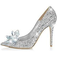 ZHIRONG Tacchi alti d argento delle donne bocca superficiale fine con scarpe  da sposa con 1a551264aab