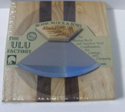 16,5cm Block mit Deep Dish Schneidebrett Schale und Ulu Banjolele Messer mit Elch geätzt Griff